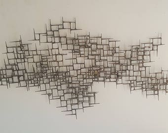 "Large 55"" Brutalist Metal Wall Sculpture of Bronze and Nails"