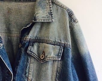 Vintage spijkerjas | vintage denimjacket | vintage jeans | vintage jeansjacket|oversized jeanscoat|jeanscoat XL