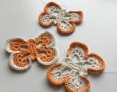 ON SALE. Orange and cream crochet butterfly string. Butterfly home decor. Crochet butterfly mobile.