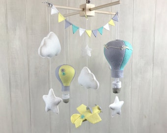 Baby mobile - airplane mobile - star mobile - cloud mobile - mint mobile - hot air balloon mobile - nursery mobile children room - neutral