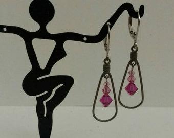 Pink Swarovski Dangle Earrings