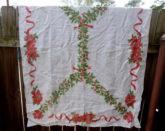 Large Vintage Luther Travis Christmas Tablecloth