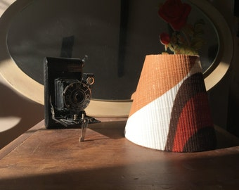 Original 1970's copper/orange/brown fabric Candle Clip Lampshades