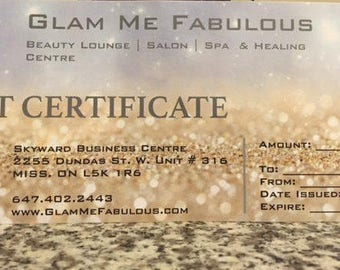100 DOLLARS Gift Certificate for Glam Me Fabulous