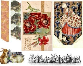 Easter Printable Ephemera Pack - Easter Cards Digital Paper Goods - Holiday Easter Egg Bunny Rabbit Victorian Vintage Digital collage sheets