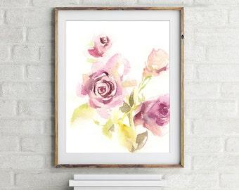 Fine Art Print, Pink Roses, floral watercolor print, watercolor painting print, floral art, wall art
