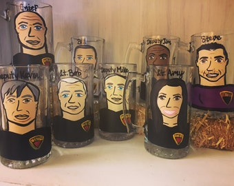 Groomsman Charicature Beer Stiens and Beer Mugs - Personalized Groomsman Gifts.