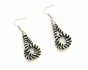Fabric Earrings Gray Black, Fiber Earrings, Knot Earrings, Modern Earrings, Fashion Earrings, Textile Earrings, Playful Cord Earrings