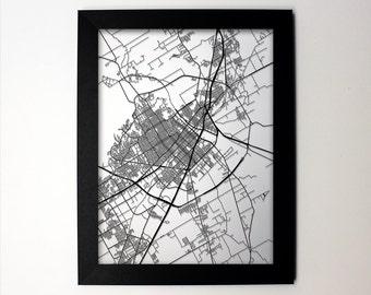 Waco Map / Laser Cut Map / Waco TX / Waco Art / Waco Texas / Framed Map / Wedding Gift / Anniversary Gift / Home Decor / Office Decor