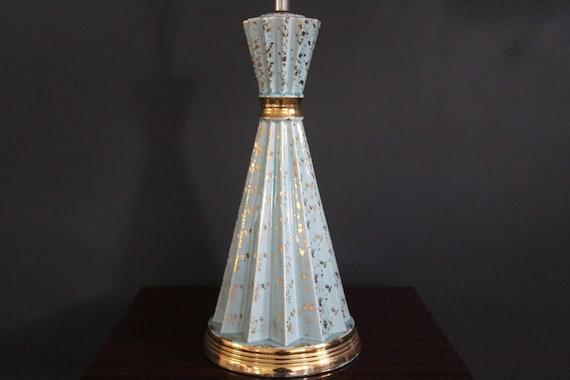 Retro Turquoise Lamp, Midcentury Turquoise Lamp, Turquoise and Gold Lamp, Fifties Lamp, Turquoise Ceramic Lamp, Atomic Lamp, Cool Lamp