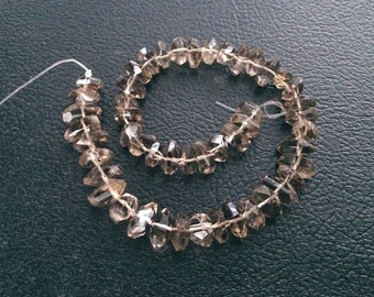 Full Strand Faceted Smoky Quartz Nugget Beads