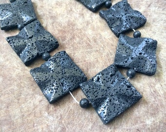 Full Strand Extra Large Natural Black Lava 40MM Wavy Flat Square Beads
