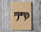 Wolf - Wild Heart Notebook - Letterpress Printed Kraft 5 x 7 Journal