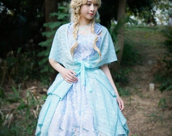 Fairy Lolita Poncho Cape Casual Midi Dress False Two Piece Dress Grey Mint