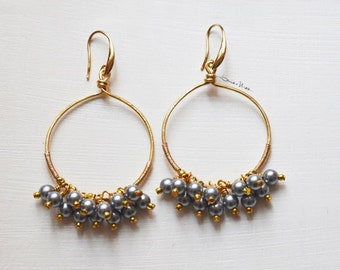 Hoop earrings, golden hammered wire and grey pearls