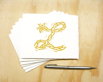 Letter L Stationery - Set of 6 Block Printed Cards - Choose Your Color - Personalized Gift - MADE TO ORDER