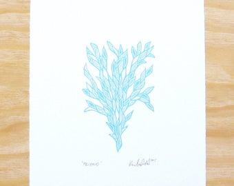 """Woodblock Print - """"Friend"""" - Sky Blue Plant - Printmaking"""