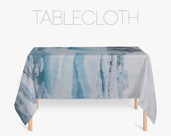 Blue Tablecloth, Iceberg Photo, Modern Tablecloth, Linen Tablecloths,  Kitchen Table, Icelandic