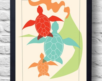 Vintage Style 1960s Sea Turtle Island Travel Poster Print, art, retro painting, gift