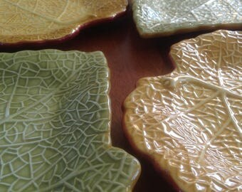 Laurie Gates Coronado Collection Leaf Shaped Salad Plates (4) - Hand Painted