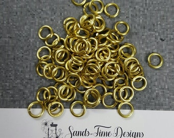 Jeweller's Brass Saw Cut Open JUMP RINGS 6mm ID, 1.5mm wire -  100 rings