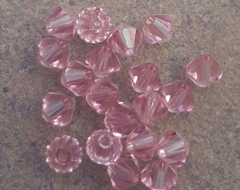 Swarovski 4mm Bicone Faceted Crystal Beads - LIGHT ROSE - Select 10, 20, 50 or 100