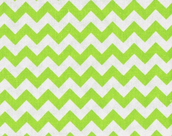 Lime Green Chevron Fabric, Green Fabric,  Fabric by the Yard,  sewing fabric, quilting cotton