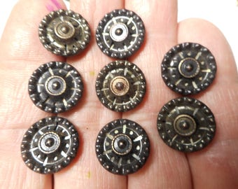 Antique Matching Brass Buttons Lot of 8 Tinted Victorian Twinkle Liner Dark Tint Buttons 9/16""