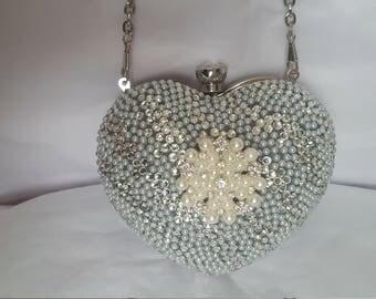 Silver Bridal Wedding Heart Shaped Clutch Bag Diamante and Pearl Handbag