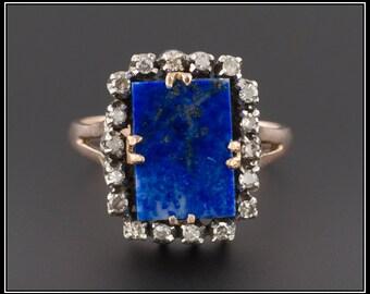 Vintage Lapis Lazuli Ring | Lapis and Diamond Ring | 9ct Gold Ring | Lapis Ring | Vintage Ring