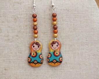 Russian doll earrings, yellow, orange and blue earrings