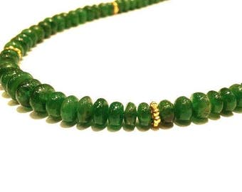 75.00 Carats Genuine Natural Smooth Rounded Emerald Beads (4mm - 6mm) Graduated Necklace with 14K Gold Spacers and 14K Gold Clasp