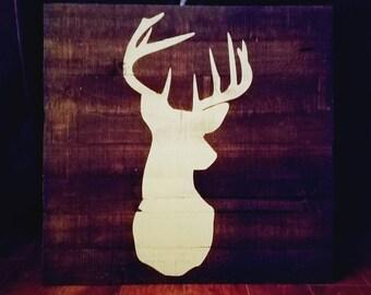 LARGE Rustic buck deer silhouette painting BEST SELLER! 100% customizable