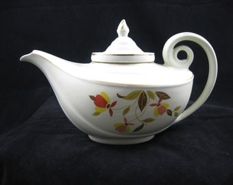 Vintage Hall China Superior Jewel Tea Autumn Leaf Aladdin Tea Pot with Lid & Infuser