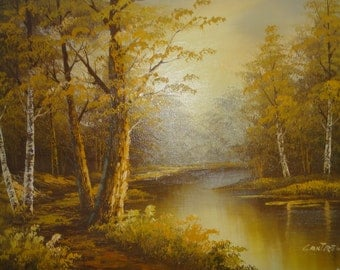 Oil on Canvas/ Signed Cantrell/ Trees/ River/