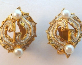 Vintage Damascene Style And Faux Pearl Clip On Earrings