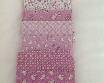 Stash Builder Assorted 30s Retro Lavender Fabric  with White and Green Accents. Fat Quarter Bundle OOP