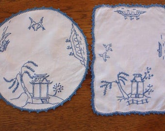 Vintage Doilies ~ Bluebirds Blue and White ~ Two Cotton Embroidered Doilies ~ Vintage Embroidery Craft Repurpose Doilies