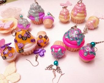 Cupcake earrings and pendant