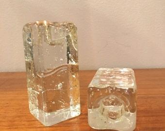 Mid Century Modern Square Ice Block Candlestick Holders Iittala Blenko Kosta Boda