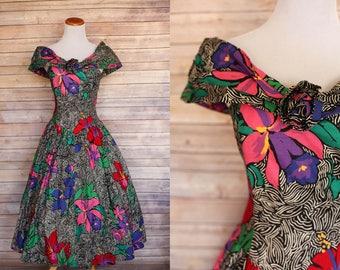 CLEARANCE   1980's Floral Dress   1950s Floral Dress   80s Floral Dress   1980's does 1950's   80s Floral Dress