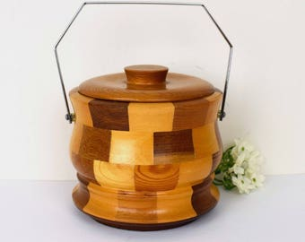 Vintage ice bucket, block wood, round with lid and carrying handle - 'Cambridgeware""