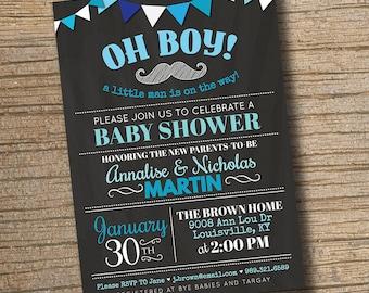 Couples Baby Shower Invitation, Baby Shower Boy Blue Invitation Invite Baby Shower Custom Personalized Printable Digital Chalk Chalkboard