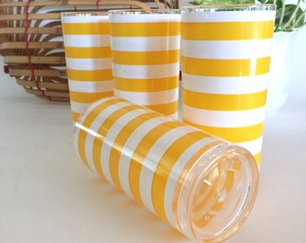 H J Stotter Highball Glamping Tumblers Tall Glamping Barware Tall Chic Picnic Tumblers Striped Tumblers Unbreakable Barware 16 Ounce