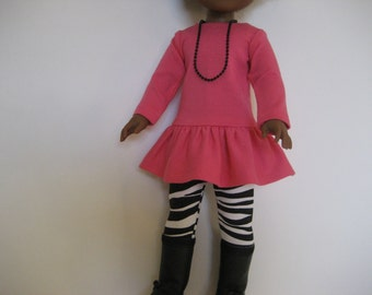 14.5 Inch  Doll Clothes--Pink and Zebra Outfit made to fit dolls such as the Wellie Wishers doll clothes