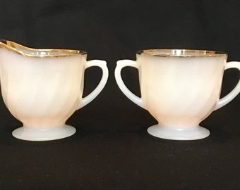 Fire King Milk Glass Creamer and Sugar With Gold Trim
