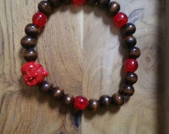 Handmade wood beaded smiling Buddha bracelet