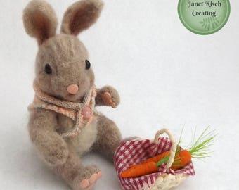 Needle Felted Bunny, Needle Felted Rabbit, Felted Rabbit, Felted Bunny, Bunny Miniature,Rrabbit Miniature, Original, OOAK Collectible, Cute