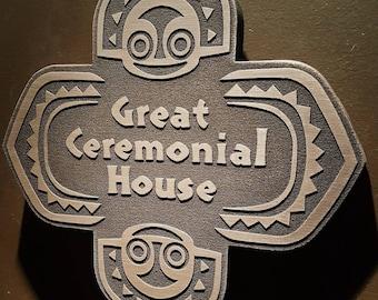 Disney polynesian resort Great Ceremonial House Tiki replica sign metallic finish