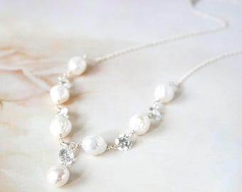 Handmade Baroque Pearl with Cubic Zirconia Necklace, Bridal Wedding Jewelry, Bride Pearl Necklace, Ready to Ship